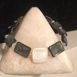 Abalone and Mother of Pearl with Crystal Bracelet